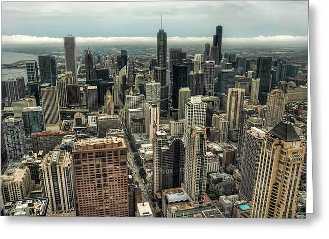 96 Floors Up Above Chicago Greeting Card by Noah Katz