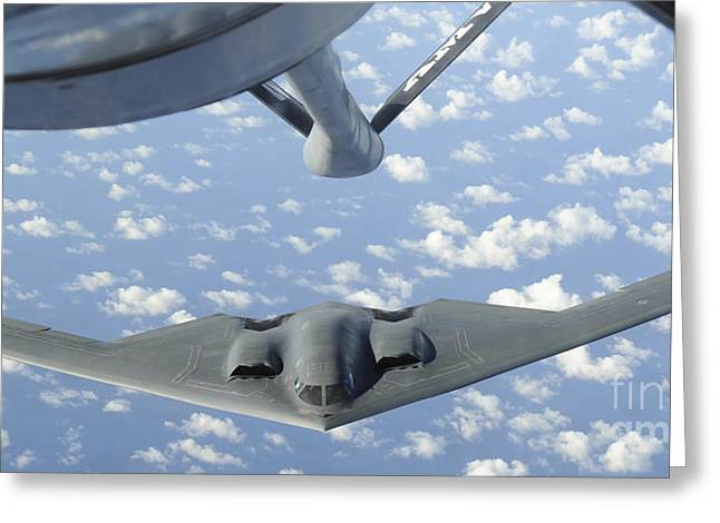 A B-2 Spirit Approaches The Refueling Greeting Card by Stocktrek Images