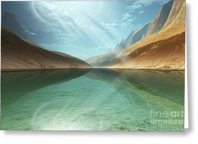 A Beautiful River Reflects Light Rays Greeting Card
