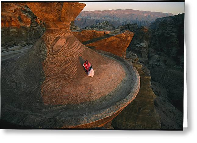 A Bedouin Surveys The View Greeting Card by Annie Griffiths