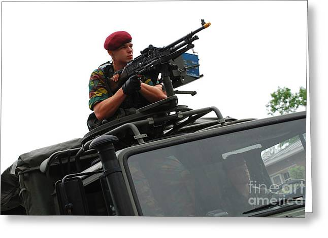 A Belgian Paratrooper Manning A Fn Mag Greeting Card