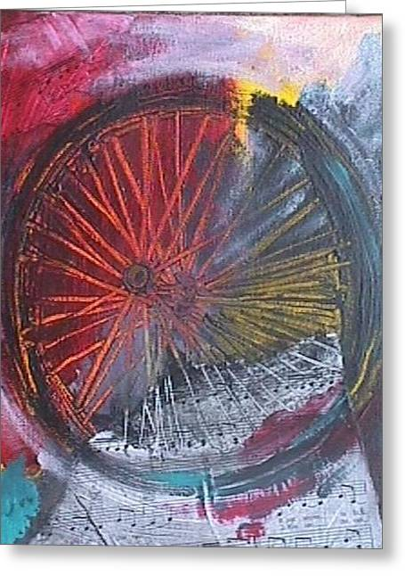 Greeting Card featuring the painting A Bicycle Built For Two by Jan Swaren