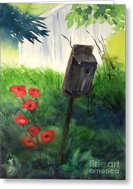 Greeting Card featuring the painting A Bird House In The Geddes Farm --ann Arbor Michigan by Yoshiko Mishina