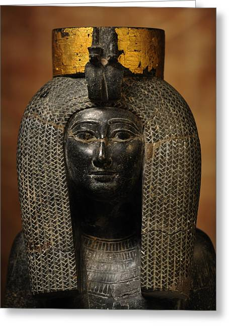 A Black Grantie Statue Of Isis Greeting Card by Kenneth Garrett