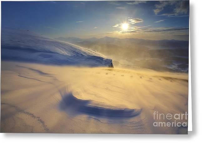 A Blizzard On Toviktinden Mountain Greeting Card by Arild Heitmann