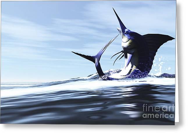 A Blue Marlin Jumps Through The Ocean Greeting Card by Corey Ford