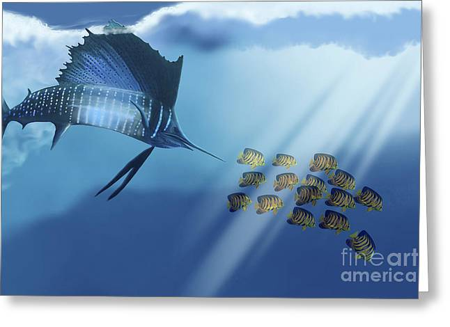 A Blue Marlin Swims After A School Greeting Card by Corey Ford