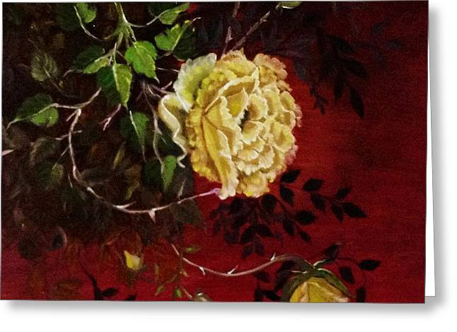 A Bright Hope Yellow Roses Greeting Card by Praisey Peter