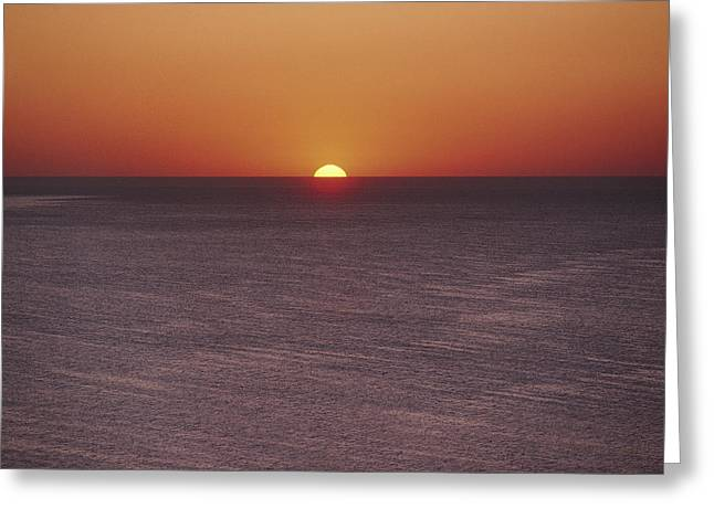 A Brillant Orange Sun, Painting Greeting Card by James L. Stanfield
