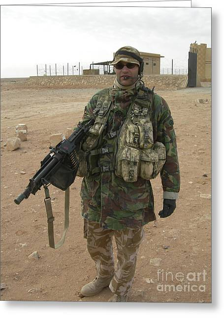 A British Army Soldier Carries Greeting Card