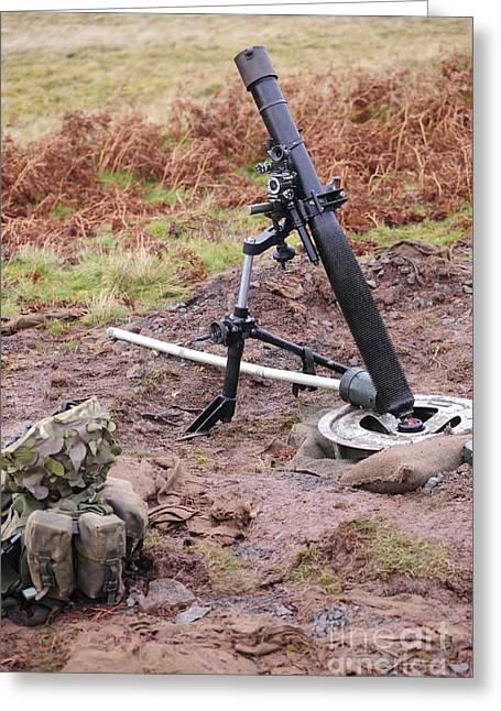 A British L16a2 81mm Mortar Tube Greeting Card by Andrew Chittock