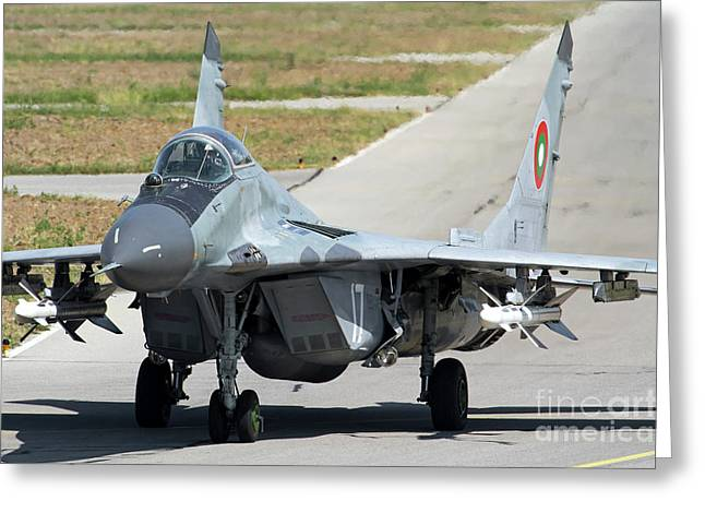 A Bulgarian Air Force Mig-29 Equipped Greeting Card by Anton Balakchiev