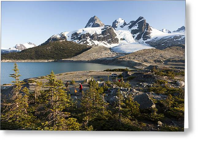 A Campsite Next To A Blue Glacier Fed Greeting Card