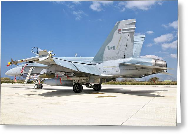 A Canadian Air Force Fa-18 Hornet Armed Greeting Card by Giovanni Colla