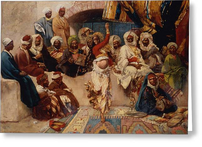 A Captive Audience Greeting Card by Charles Auguste Loye