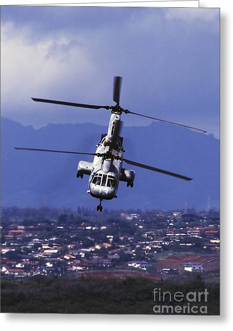 A Ch-46 Sea Knight Helicopter In Flight Greeting Card by Michael Wood