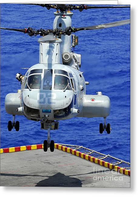 A Ch-46e Sea Knight Helicopter Prepares Greeting Card by Stocktrek Images