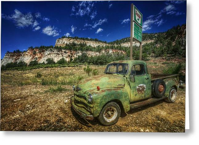 A Chevy And Checkerboard Mesa Greeting Card by Christine Annas