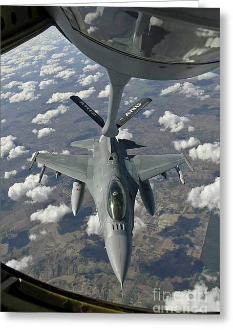 A Chilean Air Force F-16 Refuels Greeting Card by Giovanni Colla