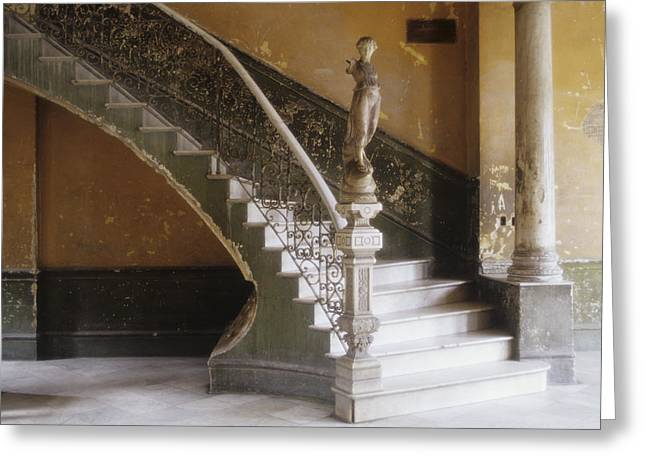 A Circular Marble Staircase And Statue Greeting Card by Kenneth Ginn