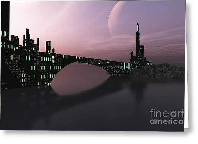 A City Is Reflected In Calm Waters Greeting Card by Corey Ford