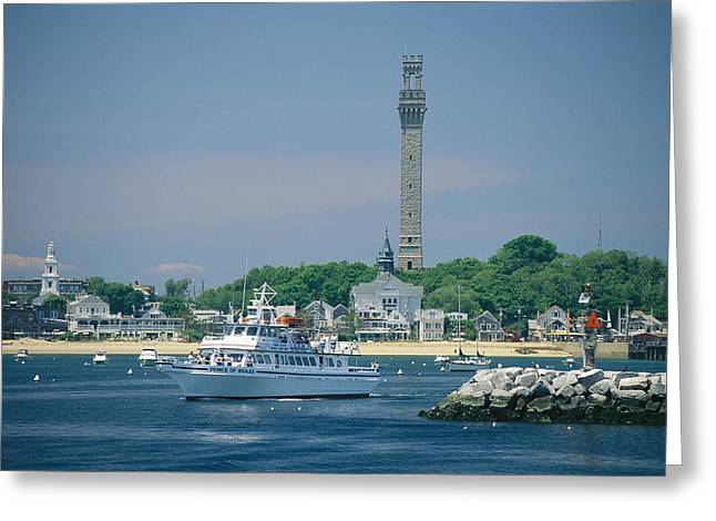 A Cityscape View Of Pilgrim Monument Greeting Card by Michael Melford