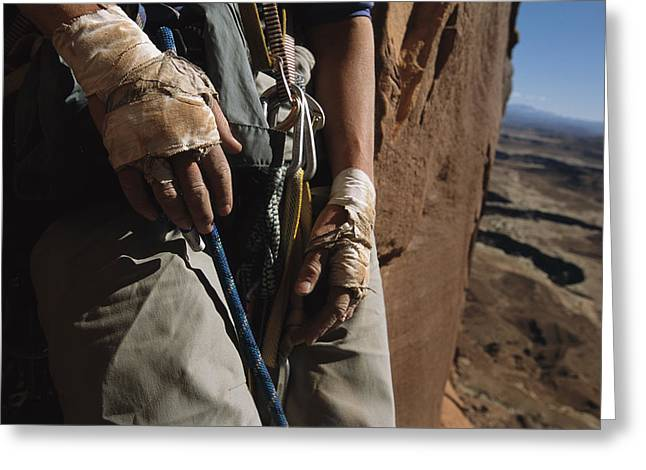 A Close View Of Rock Climber Becky Greeting Card