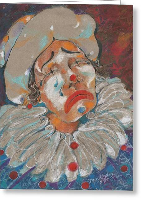 A Clown Face Greeting Card by Mary Armstrong