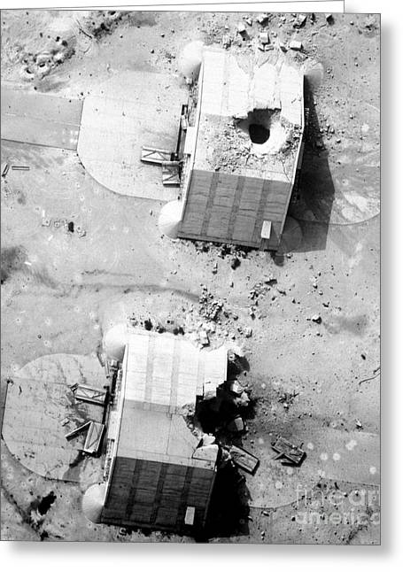 A Coalition Bombing Of Aircraft Hangers Greeting Card