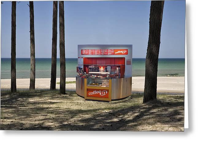 A Coffee Bar And Drinks Kiosk Greeting Card by Jaak Nilson