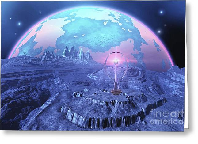 A Colony On An Alien Moon Greeting Card by Corey Ford
