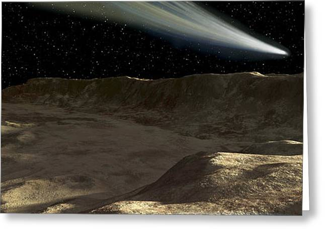 A Comet Passes Over The Surface Greeting Card by Ron Miller