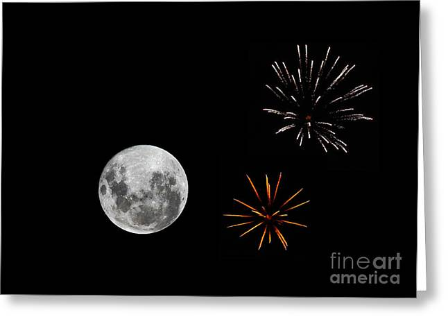 A Composite Image With Fireworks Greeting Card by Luis Argerich