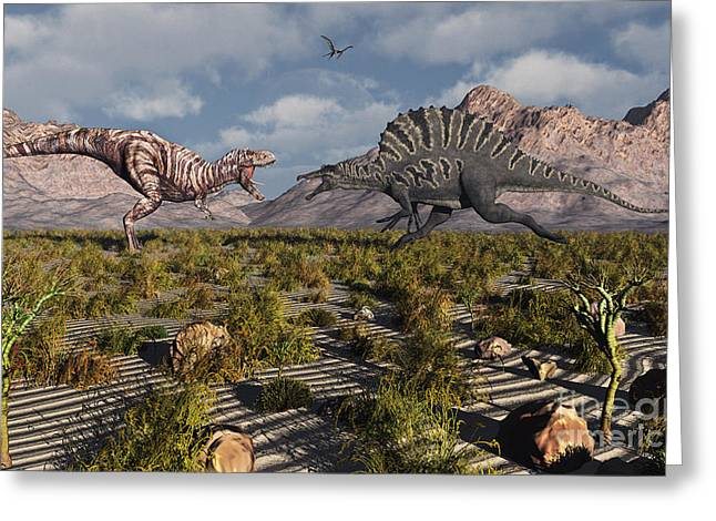 A Confrontation Between A T. Rex Greeting Card by Mark Stevenson
