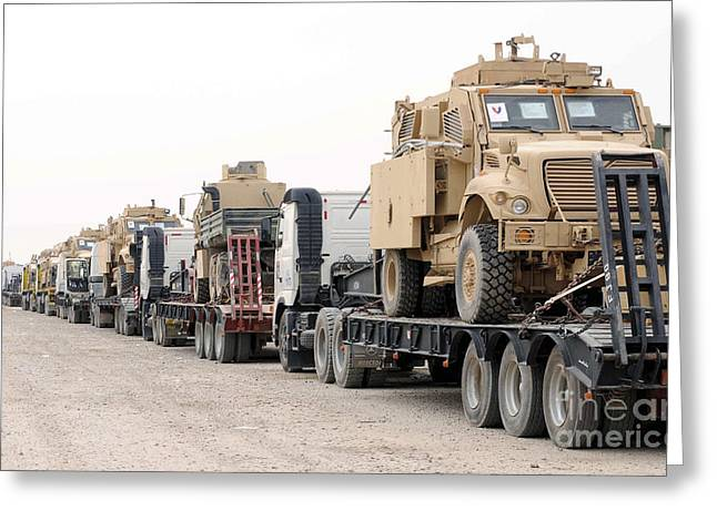 A Convoy Of Mine-resistant Ambush Greeting Card by Stocktrek Images