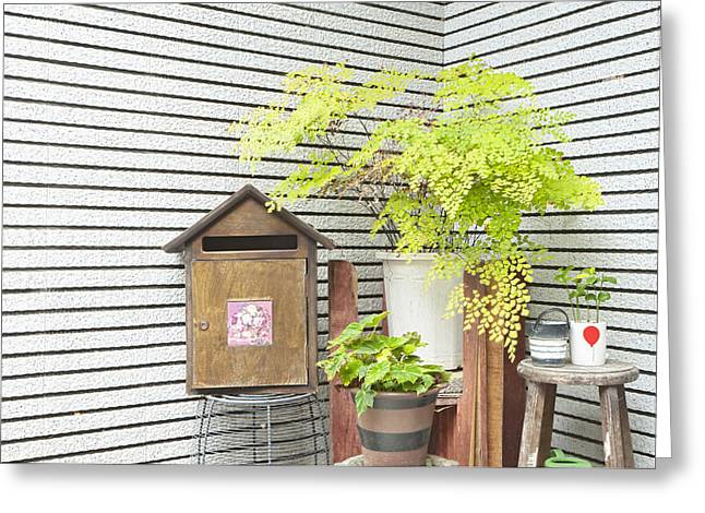 Residential Structure Greeting Cards - A Corner Outside A House With A Mailbox Greeting Card by Lawren Lu