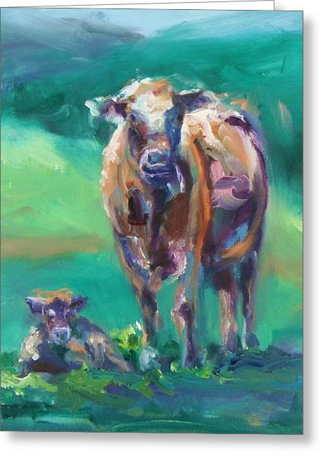 A Cow And Her Calf Greeting Card by Donna Tuten