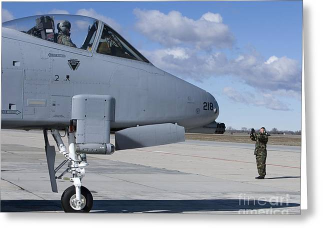 A Crew Chief Marshalls An A-10 Greeting Card by HIGH-G Productions