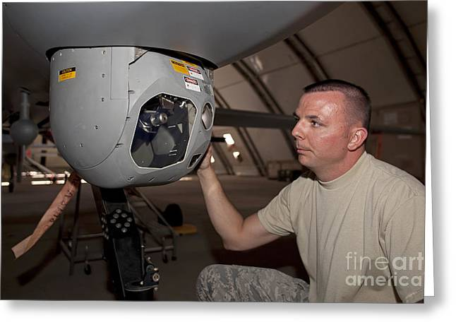 A Crew Chief Works On Mq-1 Predators Greeting Card by HIGH-G Productions