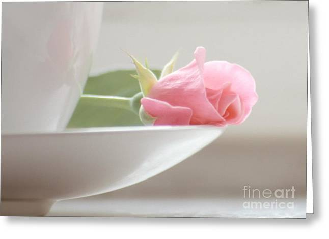 A Cup Of Coffee With Rose Greeting Card by Iryna Shpulak