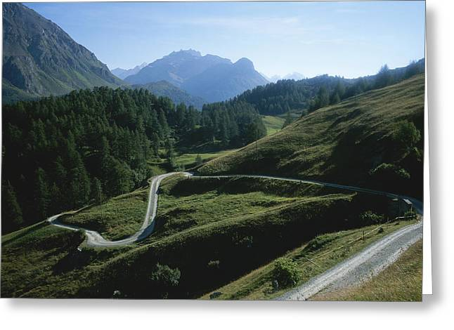 A Curving Mountain Road Outside St Greeting Card by Taylor S. Kennedy