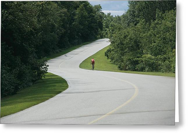 A Cyclist On A Scenic Drive In Gatineau Greeting Card