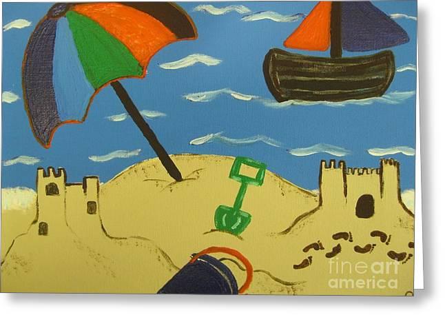 A Day At The Beach Greeting Card by Eva  Dunham