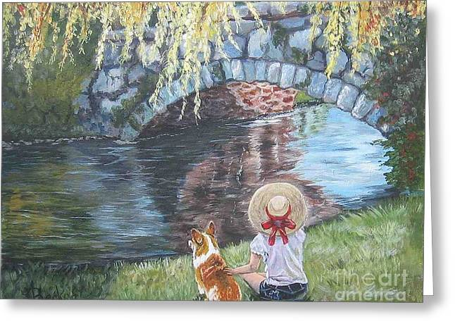 A Day By The Stone Bridge Greeting Card by Ann Becker