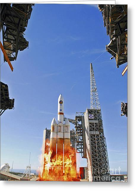 A Delta Iv Heavy Launch Vehicle Greeting Card by Stocktrek Images