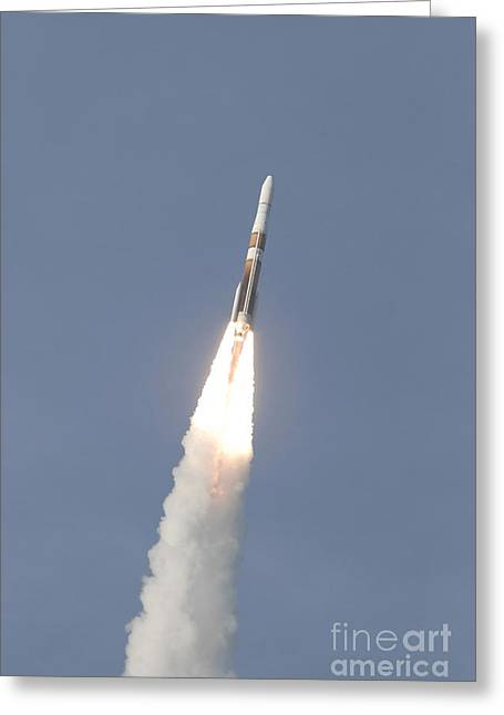 A Delta Iv Rocket Roars Into The Sky Greeting Card by Stocktrek Images