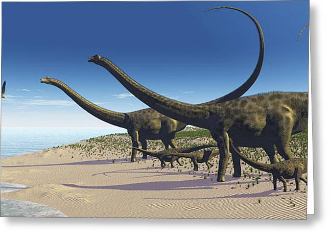 A Diplodocus Herd Comes Down To A Lake Greeting Card