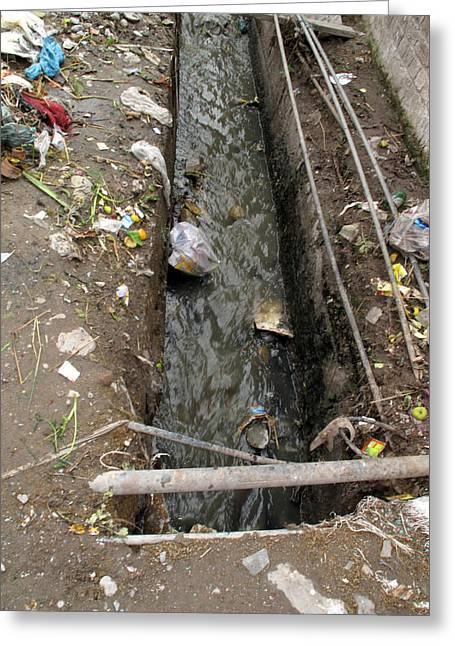 A Dirty Drain With Filth All Around It Representing A Health Risk Greeting Card by Ashish Agarwal