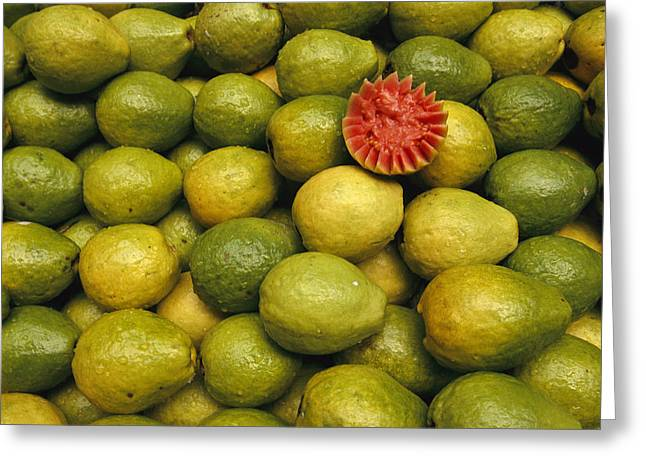 A Display Of Guavas In An Open Air Greeting Card by Richard Nowitz