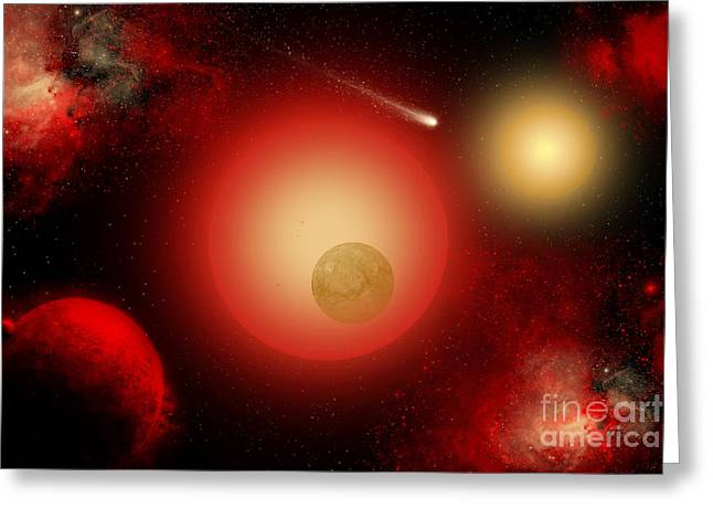 A Distant Binary Star System Located Greeting Card by Mark Stevenson